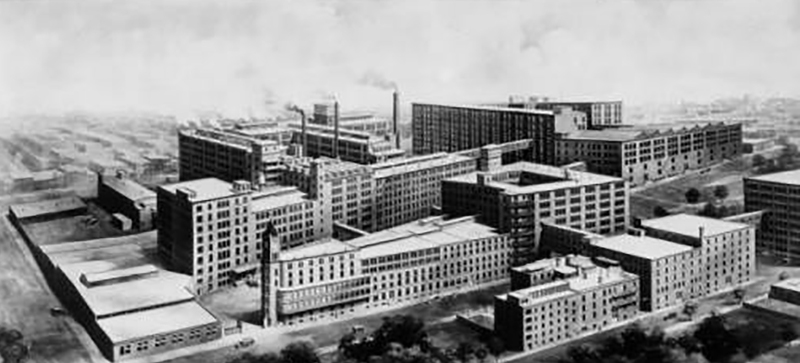 Architectural Illustration of Stetson Factory Buildings