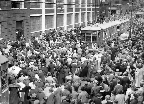 Strike sympathizers outside the Apex Hosiery Company Plant, Philadelphia, PA.