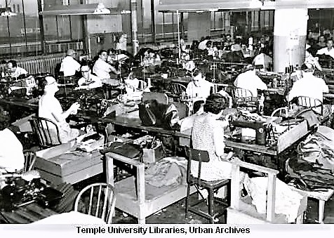 Daroff & Sons factory workers assemble suit jackets