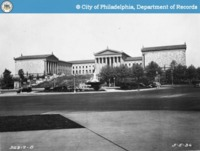 A street view of the Philadelphia Art Museum ten years after its opening.